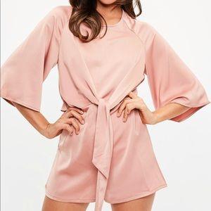 Pink Tie Kimono Romper